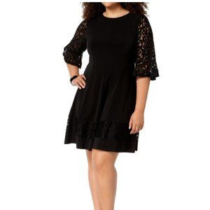 NWT Jessica Howard Lace Fit Flare Dress Black 10P